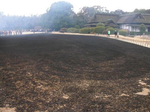 岡山後楽園の芝焼きで全面焼けた様子