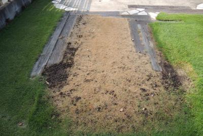 車に日照をさえぎられて全滅した芝生